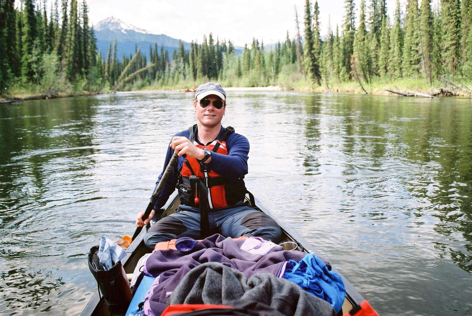Spirit of the Yukon- Teslin River Canoe trip canoe with gear